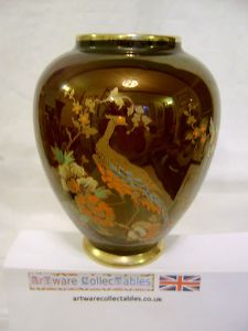 Carlton Ware - 'Pheasant' Rouge Lustre Ovoid vase 1930s - SOLD